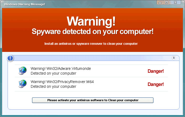 Warning spyware detected