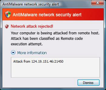 AntiMalware network alert