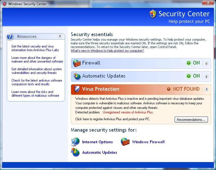 AntiVirus fake security center